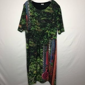 Treu Rainforest Tribal 3/4 Sleeve Dress Size 2X
